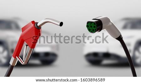Diesel versus electric. Gas or electric station. 3d rendering Stock photo ©