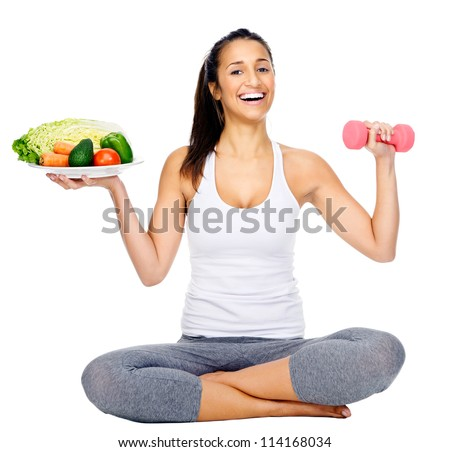 diet and exercise, healthy lifestyle woman isolated on white background