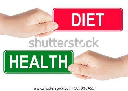 Diet and Health traffic sign in the hand on the white background