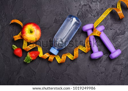 Diet and sport concept. Healthy lifestyle background. Copy space