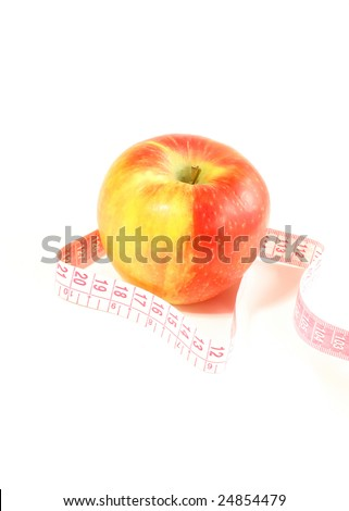 diet, apple and measuring tape isolated on white background