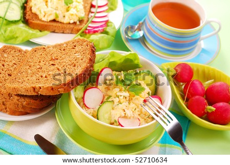 diet breakfast and  sandwich with egg and cheese spread