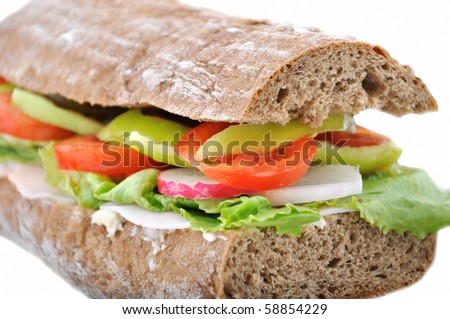 diet brown baguette with vegetable - isolated on white background