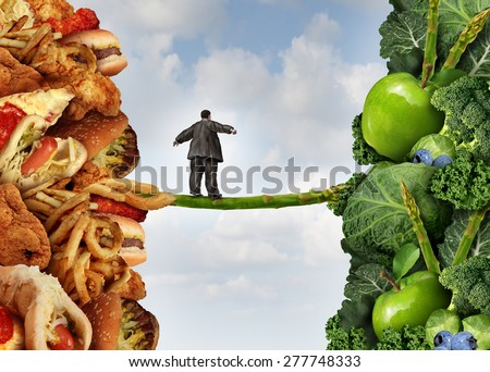 Diet change healthy lifestyle concept and having the courage to accept the challenge of losing weight as an overweight person on a high wire asparagus from fatty food towards vegetables and fruit.