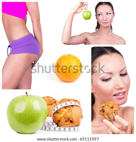 Diet choice collage. Healthy lifestyle concept