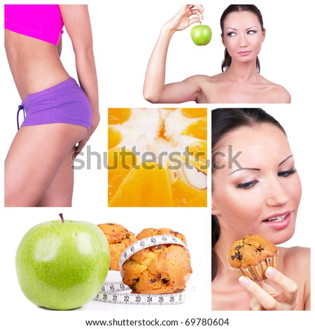 Diet choice collage. Sport concept