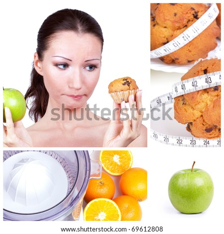 Diet choice collage. Woman in choice