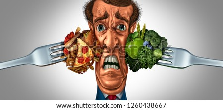 Diet choice stress and nutrition choices as a stressed person being pressured by healthy vegetables and fruit with high cholesterol greasy fast food with 3D illustration elements.