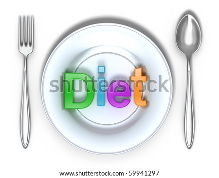 Diet : Colorful word and isolated 3D concept