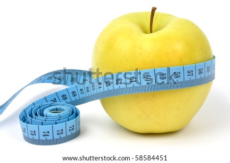 Diet concept - apple and measuring tape isolated on white