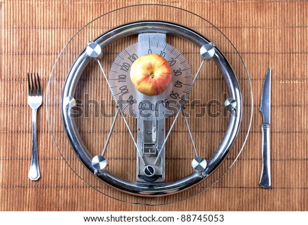 Diet concept. Fruit  on a plate like weight scale