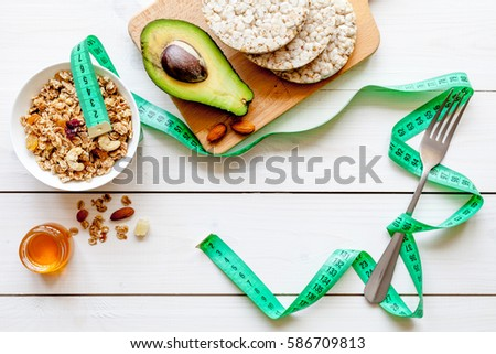 Diet concept, healthy food for slim figure #586709813