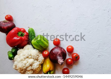 Diet concept. Ketogenic Diet , Vegan diet on chalkboard, health conceptual. Healthy fresh low carbohydrates food; tomatoes,cauliflower, cucumbers, onions,  sweet pepper. Top view. Copy space. #1449259046