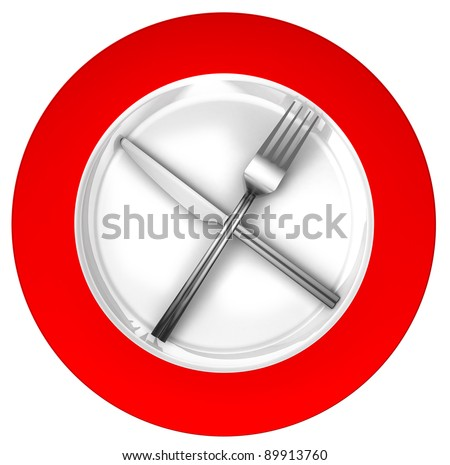 diet concept sign red and white with metal fork and knife isolated on white background