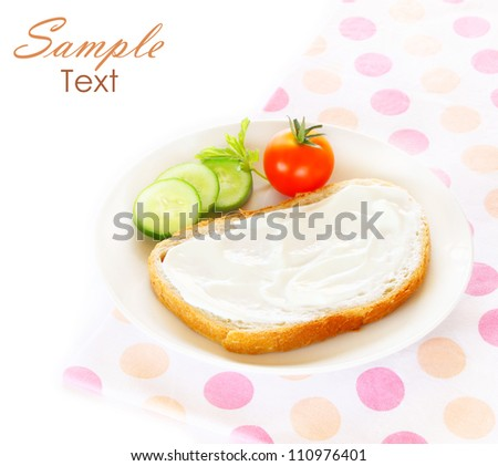 diet concept - sliced bread with cream cheese and vegetables