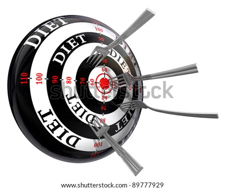 diet concept target with metal forks isolated on white background