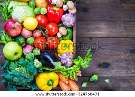 Diet concept.Vegetables on rustic wood background text space. #324768491