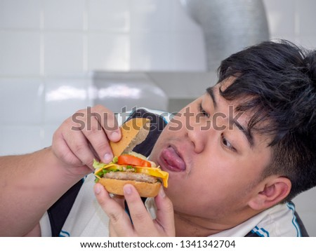 Diet failure of fat man eating fast food unhealthy hamberger. #1341342704
