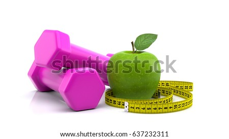 Diet, fitness and sport concept. Pink dumbbell, measuring tape and green apple on white background.3D Render.