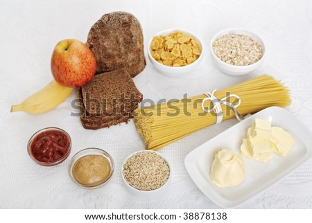 Diet food choice on white
