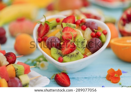 Diet, healthy fruit salad - healthy breakfast, weight loss concept