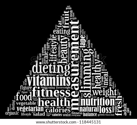 Diet info-text graphics and arrangement concept on black background (word cloud)