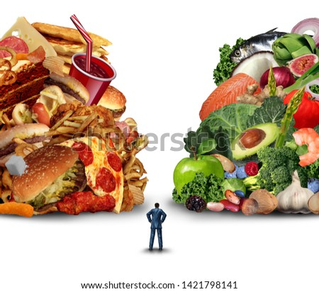 Diet lifestyle decision concept and nutrition choices dilemma between healthy good fresh fruit and vegetables or greasy cholesterol rich fast food with a confused person with 3D illustration elements