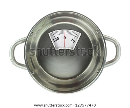 Diet meal. Stainless steel casserole pot with weight scale