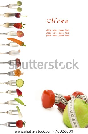 diet menu with vegetables and fruits