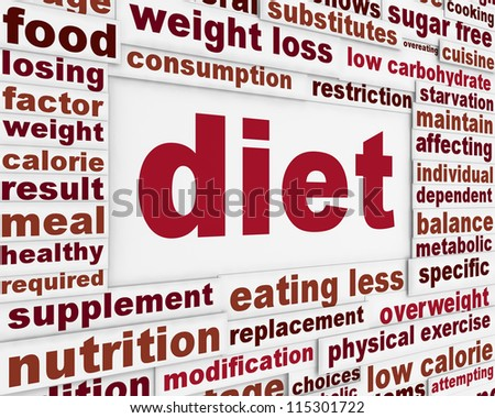 Diet message background design. Dieting poster conceptual design
