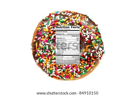 Diet / Nutrition Concept Donut with Nutrition Label Isolated on a White Background