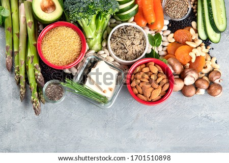 Diet of plant based protein. Healthy  Foods high in plant protein, antioxidants, vitamins and dietary fiber. Top view with copy space