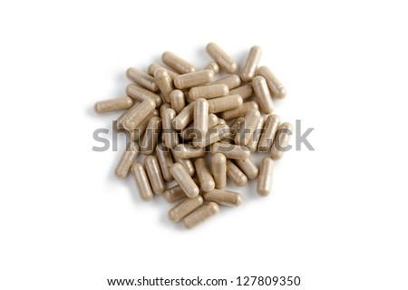 diet pills on white background