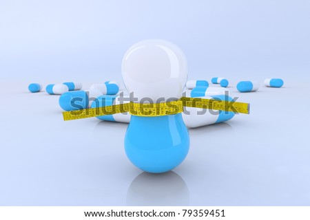 diet pills with tape meter 3d illustration