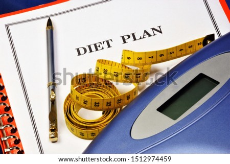 Diet plan-control your figure with weight and centimeter. Healthy lifestyle. Diet is a set of rules of nutrition, the goal is to lose weight.