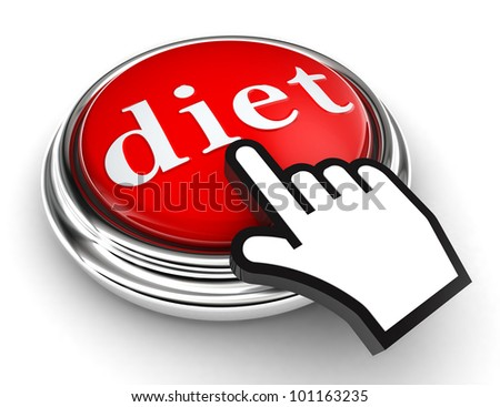 diet red button and cursor hand on white background. clipping paths included