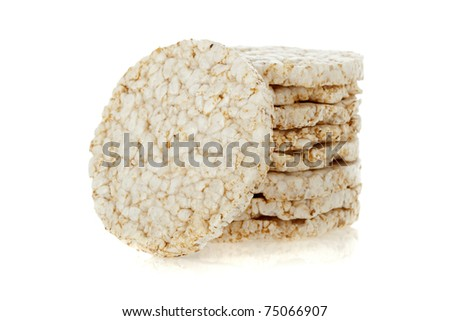 Diet rice cakes pile isolated on white background