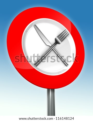 diet road sign red and white with metal fork and knife. clipping paths included