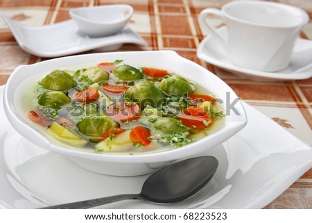 Diet soup with fresh vegetables