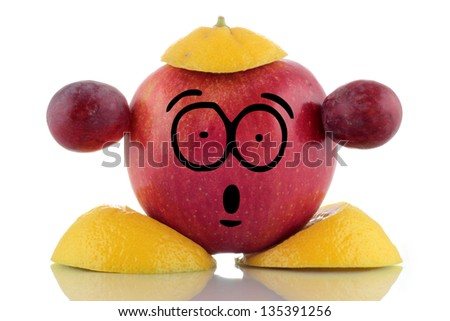 Diet time. Funny fruit character on white background.