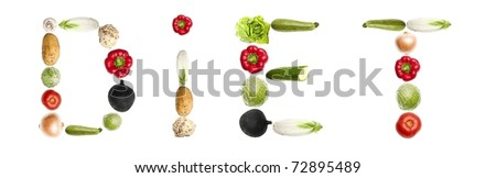 Diet word made of different type of vegetables