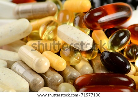 Dietary supplements. Variety of drug pills