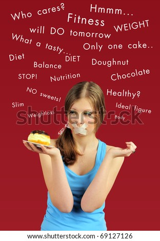 Dieting concept: attractive girl with chocolate cake and closed mouth by sticky tape, and her thoughts above.
