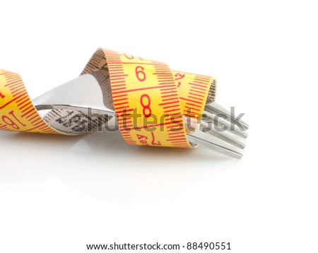 Dieting concept with metallic fork with   meter