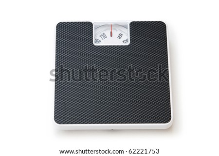 Dieting concept with scales isolated on the white - stock photo