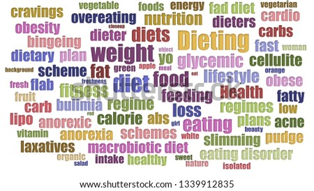 Dieting Tag Cloud Aligned Isolated