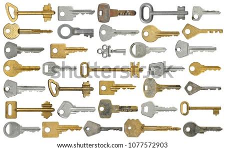 DifferDifferent old keys on white isolated background.Set for the designer.ent old keys on white isolated background.Set for the designer.
