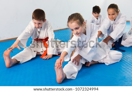 Different ages children preparing physically to karate class