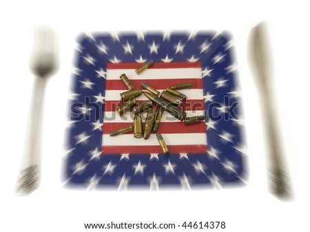 different ammunition on an american flag plate, zoom blur