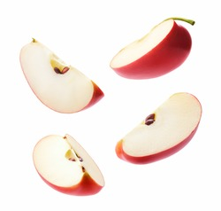 Different angle of slices red apple isolated on white background